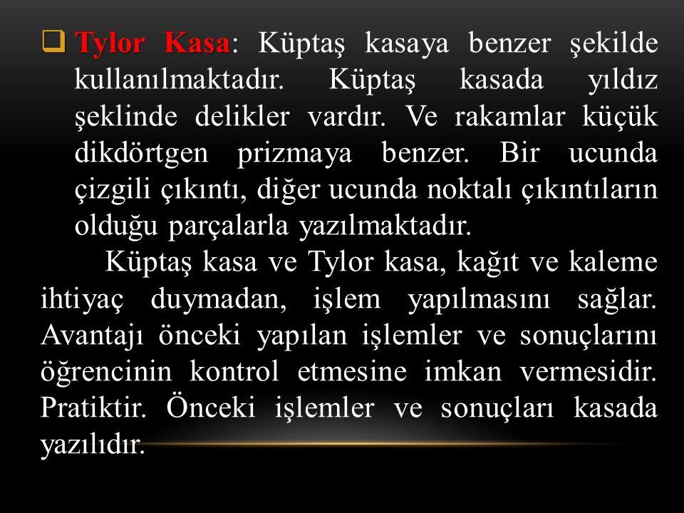  Tylor Kasa  Tylor Kasa: Küptaş kasaya benzer şekilde kullanılmaktadır. Küptaş kasada yıldız şeklinde delikler vardır. Ve rakamlar küçük dikdörtgen