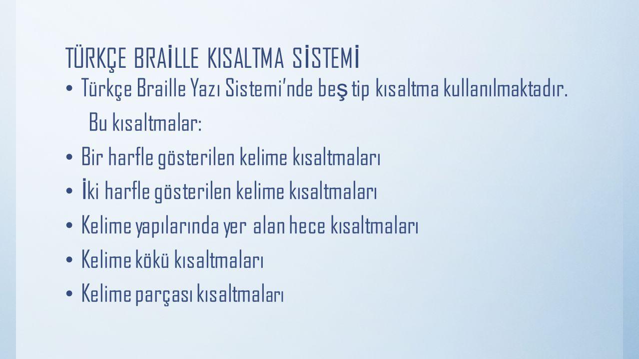 TÜRKÇE BRA İ LLE KISALTMA S İ STEM İ Türkçe Braille Yazı Sistemi'nde be ş tip kısaltma kullanılmaktadır. Bu kısaltmalar: Bir harfle gösterilen kelime