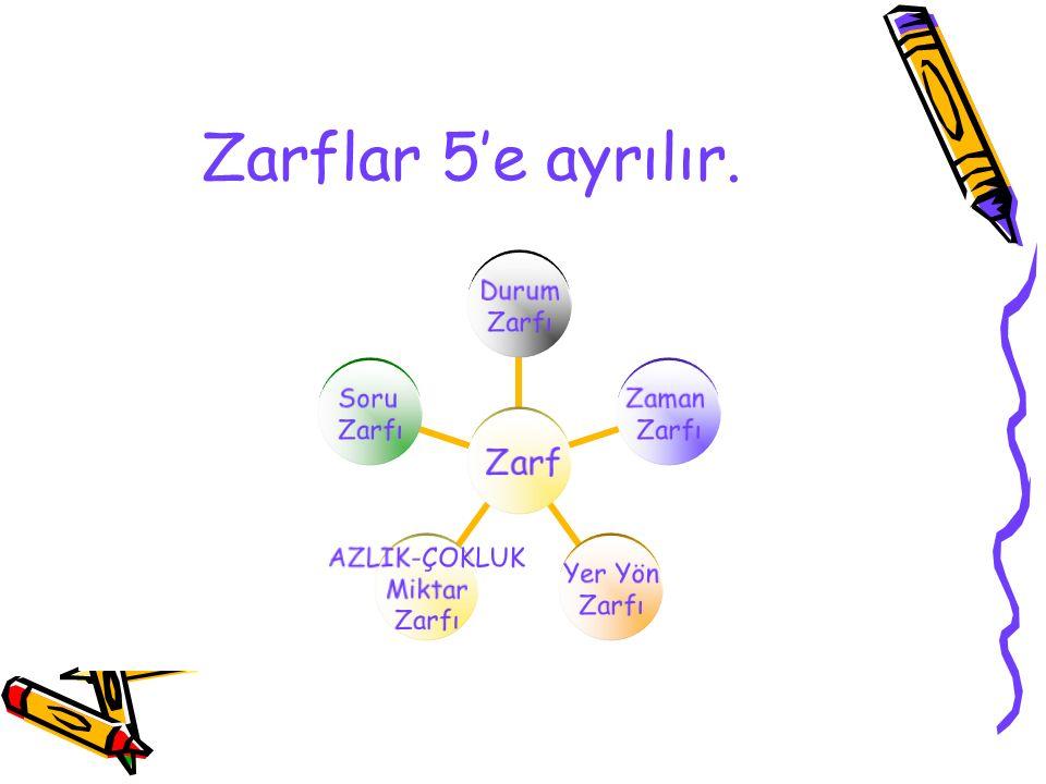 MİKTAR ZARFI Miktar zarfları fiil veya fiilimsileri azlık çokluk yönünden derecelendiren zarflardır.Fiile veya fiilimsiye sorulan ne kadar sorusuna cevap verir.