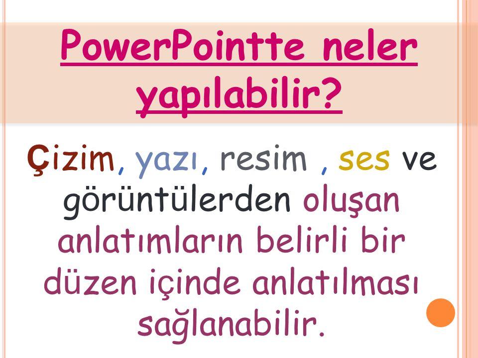 PowerPointte neler yapılabilir.
