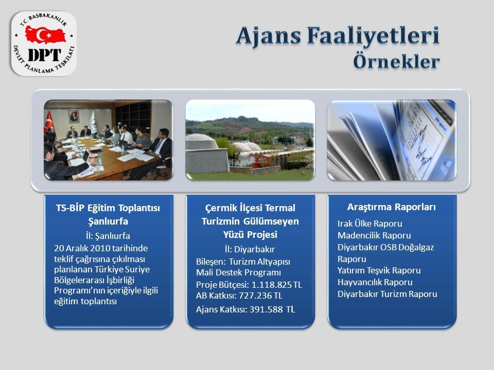 TS-BİP Eğitim Toplantısı Şanlıurfa İl: Şanlıurfa 20 Aralık 2010 tarihinde teklif çağrısına çıkılması planlanan Türkiye Suriye Bölgelerarası İşbirliği
