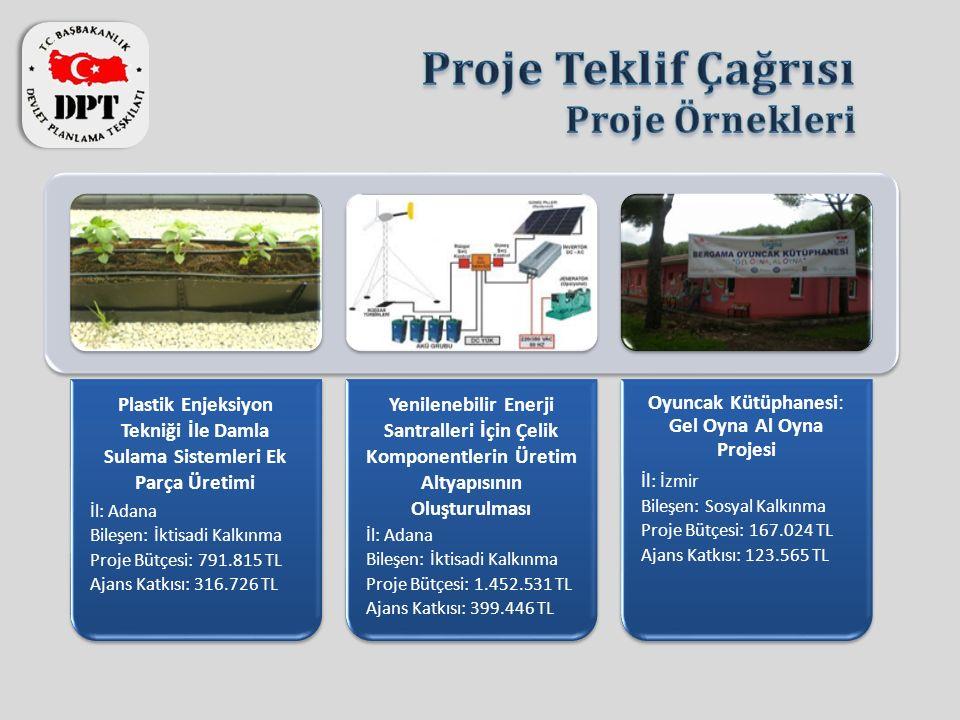 Plastik Enjeksiyon Tekniği İle Damla Sulama Sistemleri Ek Parça Üretimi İl: Adana Bileşen: İktisadi Kalkınma Proje Bütçesi: 791.815 TL Ajans Katkısı: