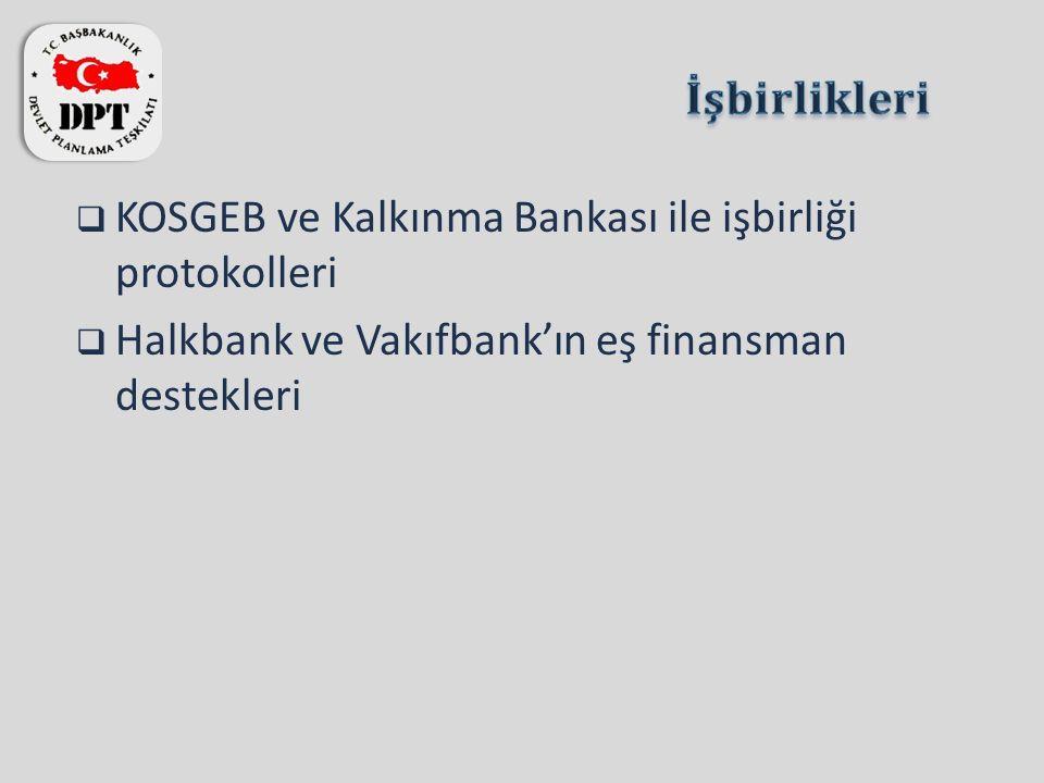 KOSGEB ve Kalkınma Bankası ile işbirliği protokolleri  Halkbank ve Vakıfbank'ın eş finansman destekleri