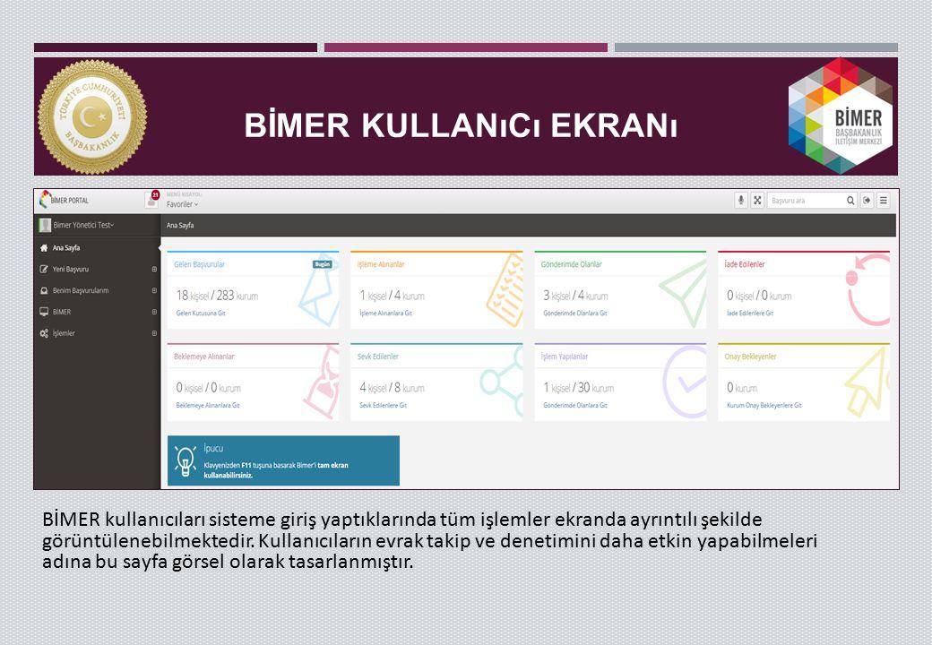 BİMER KULLANıCı EKRANı BİMER kullanıcıları sisteme giriş yaptıklarında tüm işlemler ekranda ayrıntılı şekilde görüntülenebilmektedir. Kullanıcıların e