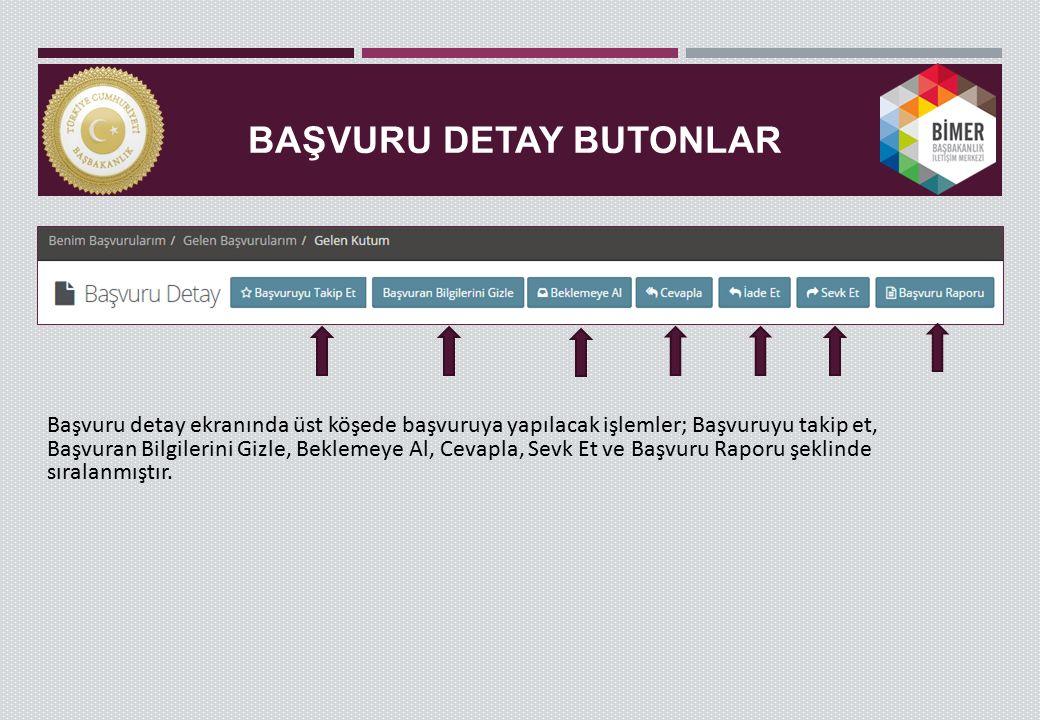 BAŞVURU DETAY BUTONLAR Başvuru detay ekranında üst köşede başvuruya yapılacak işlemler; Başvuruyu takip et, Başvuran Bilgilerini Gizle, Beklemeye Al,