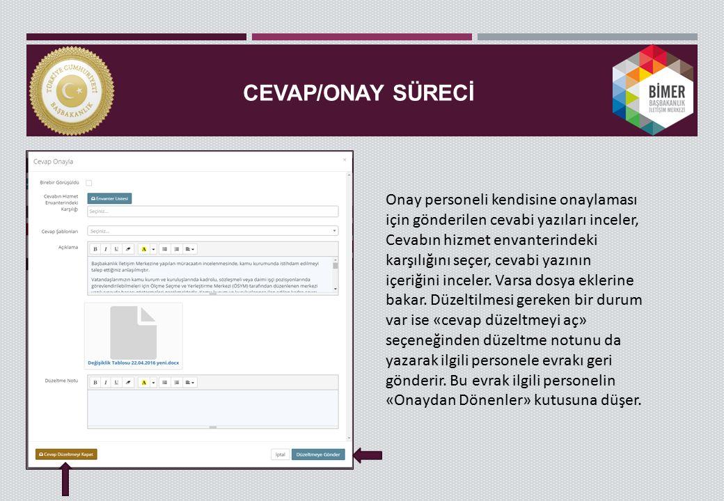 CEVAP/ONAY SÜRECİ Onay personeli kendisine onaylaması için gönderilen cevabi yazıları inceler, Cevabın hizmet envanterindeki karşılığını seçer, cevabi yazının içeriğini inceler.
