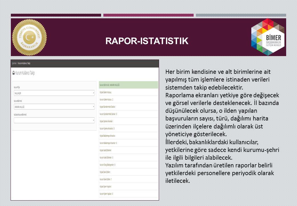 RAPOR-ISTATISTIK Her birim kendisine ve alt birimlerine ait yapılmış tüm işlemlere istinaden verileri sistemden takip edebilecektir.