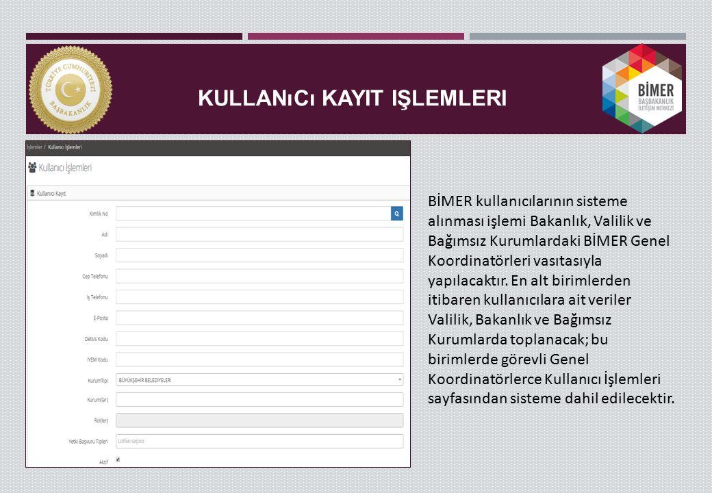 KULLANıCı KAYIT IŞLEMLERI BİMER kullanıcılarının sisteme alınması işlemi Bakanlık, Valilik ve Bağımsız Kurumlardaki BİMER Genel Koordinatörleri vasıtasıyla yapılacaktır.