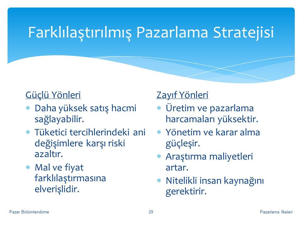 Farklılaştırılmış Pazarlama Stratejisi Pazarlama İlkeleriPazar Bölümlendirme29 Güçlü Yönleri  Daha yüksek satış hacmi sağlayabilir.