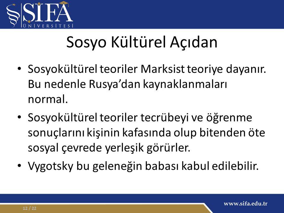 Sosyo Kültürel Açıdan Sosyokültürel teoriler Marksist teoriye dayanır. Bu nedenle Rusya'dan kaynaklanmaları normal. Sosyokültürel teoriler tecrübeyi v