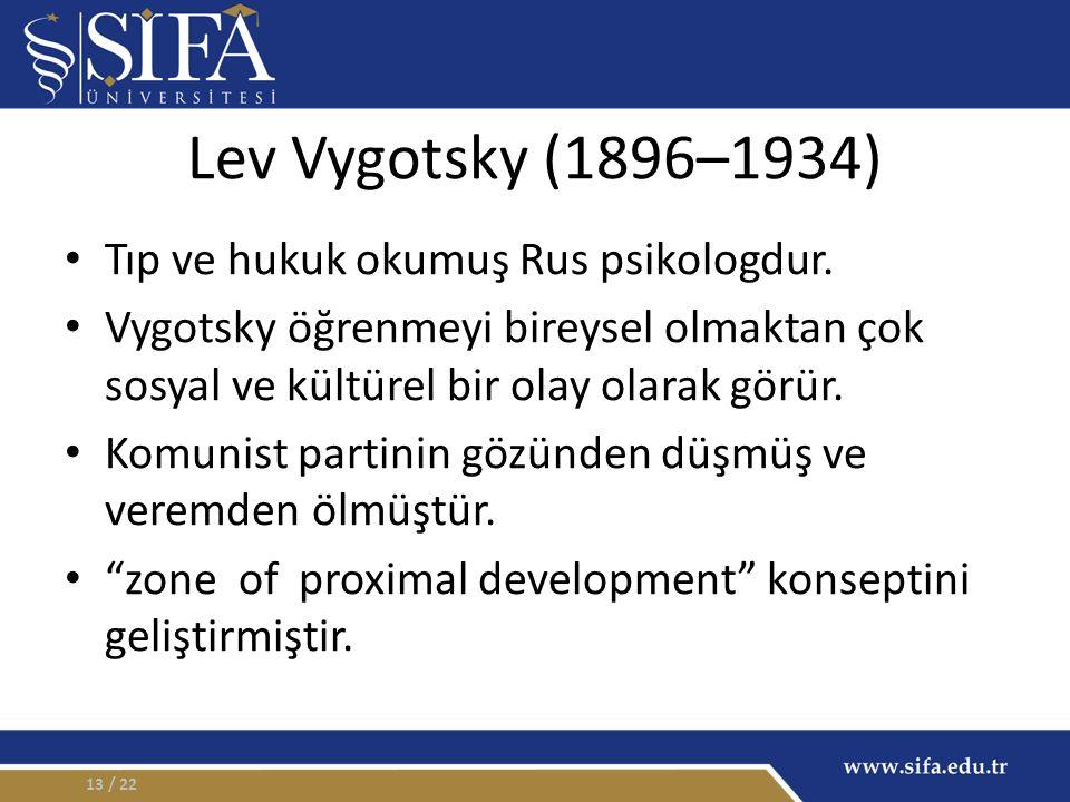 Lev Vygotsky (1896–1934) Tıp ve hukuk okumuş Rus psikologdur. Vygotsky öğrenmeyi bireysel olmaktan çok sosyal ve kültürel bir olay olarak görür. Komun