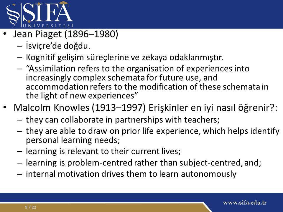 """Jean Piaget (1896–1980) – İsviçre'de doğdu. – Kognitif gelişim süreçlerine ve zekaya odaklanmıştır. – """"Assimilation refers to the organisation of expe"""