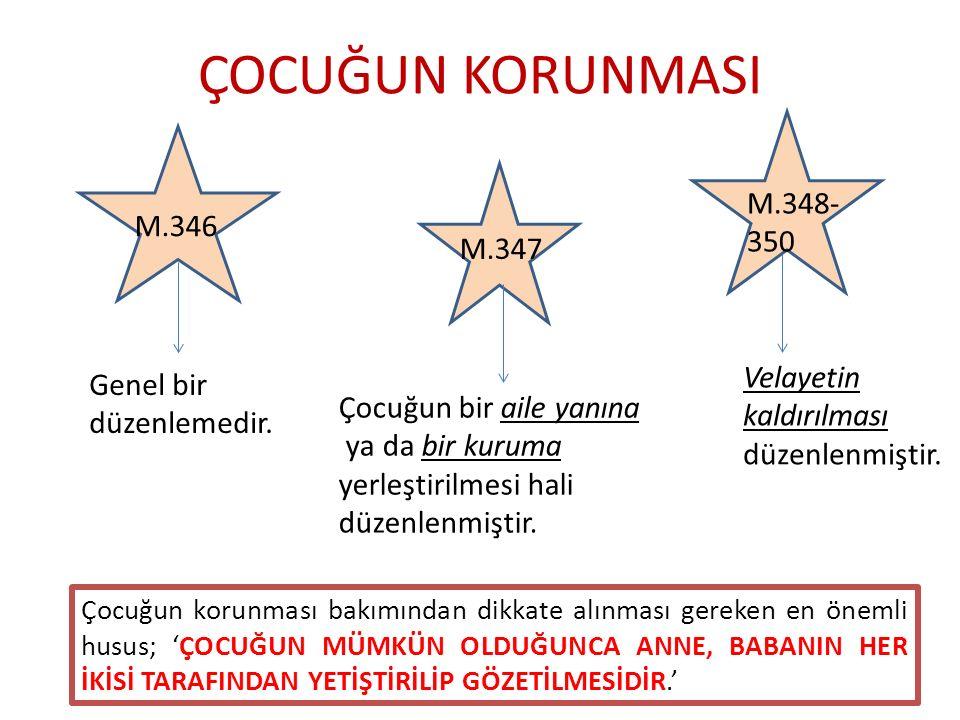 ÇOCUĞUN KORUNMASI M.346 M.347 M.348- 350 Genel bir düzenlemedir.
