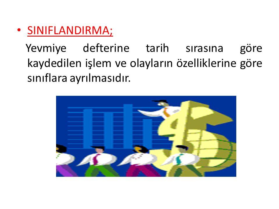 SINIFLANDIRMA; Yevmiye defterine tarih sırasına göre kaydedilen işlem ve olayların özelliklerine göre sınıflara ayrılmasıdır.