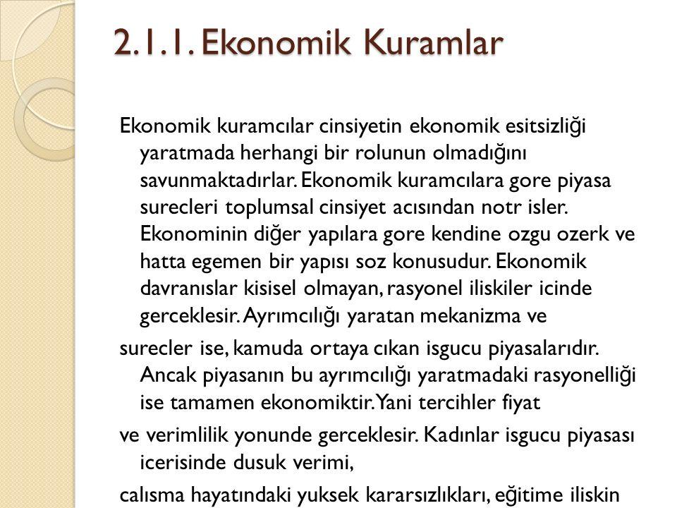 2.1.1. Ekonomik Kuramlar Ekonomik kuramcılar cinsiyetin ekonomik esitsizli ğ i yaratmada herhangi bir rolunun olmadı ğ ını savunmaktadırlar. Ekonomik