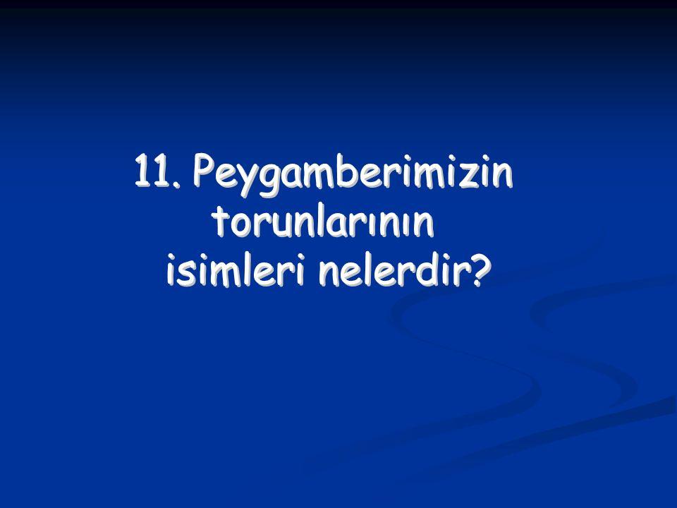 11. Peygamberimizin torunlarının isimleri nelerdir? 11. Peygamberimizin torunlarının isimleri nelerdir?