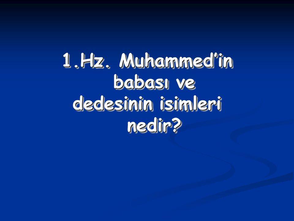1.Hz. Muhammed'in babası ve dedesinin isimleri nedir? 1.Hz. Muhammed'in babası ve dedesinin isimleri nedir?