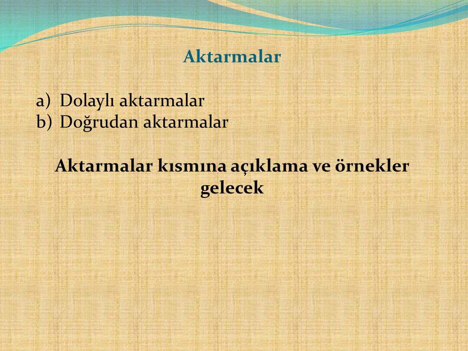 Aktarmalar a)Dolaylı aktarmalar b)Doğrudan aktarmalar Aktarmalar kısmına açıklama ve örnekler gelecek