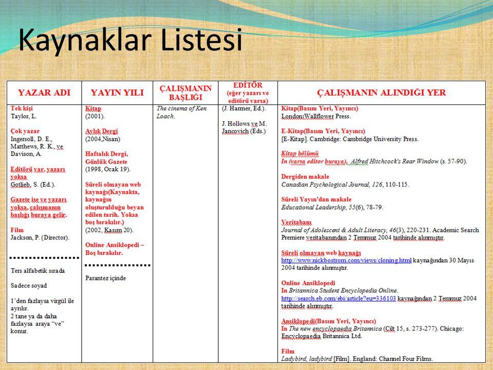 Kaynaklar Listesi