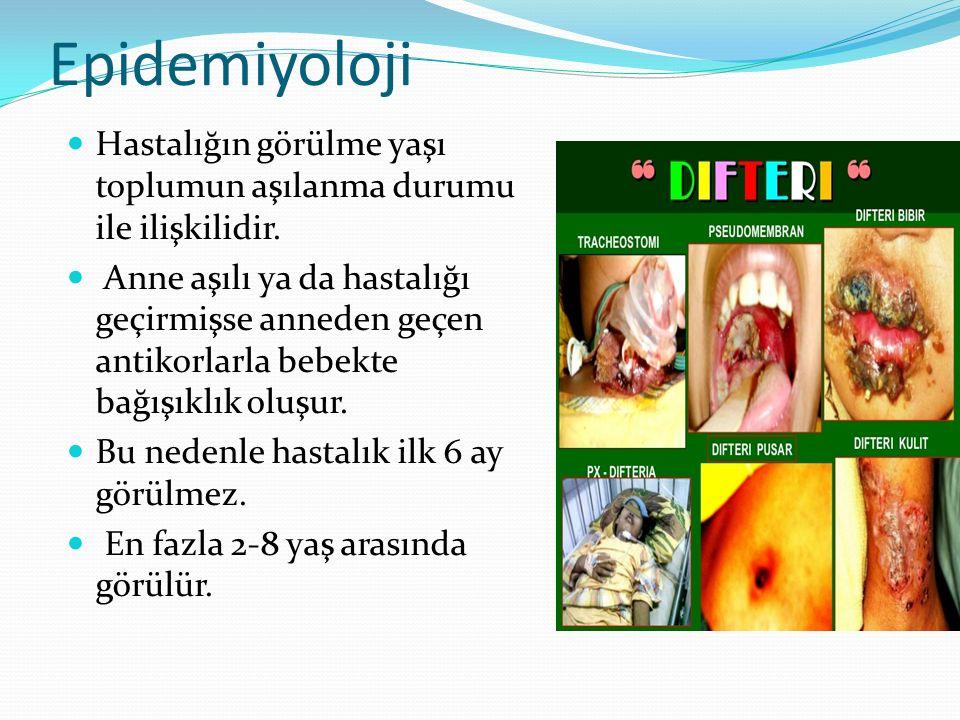Epidemiyoloji Hastalığın görülme yaşı toplumun aşılanma durumu ile ilişkilidir. Anne aşılı ya da hastalığı geçirmişse anneden geçen antikorlarla bebek