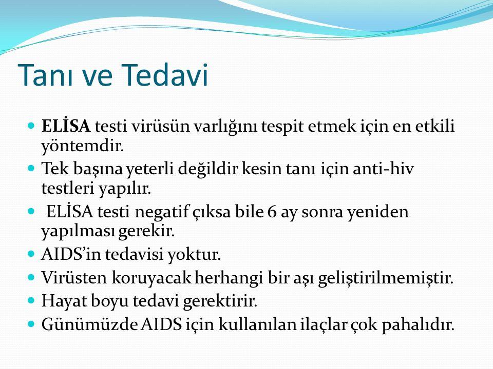Tanı ve Tedavi ELİSA testi virüsün varlığını tespit etmek için en etkili yöntemdir. Tek başına yeterli değildir kesin tanı için anti-hiv testleri yapı