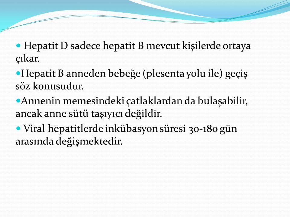 Hepatit D sadece hepatit B mevcut kişilerde ortaya çıkar. Hepatit B anneden bebeğe (plesenta yolu ile) geçiş söz konusudur. Annenin memesindeki çatlak