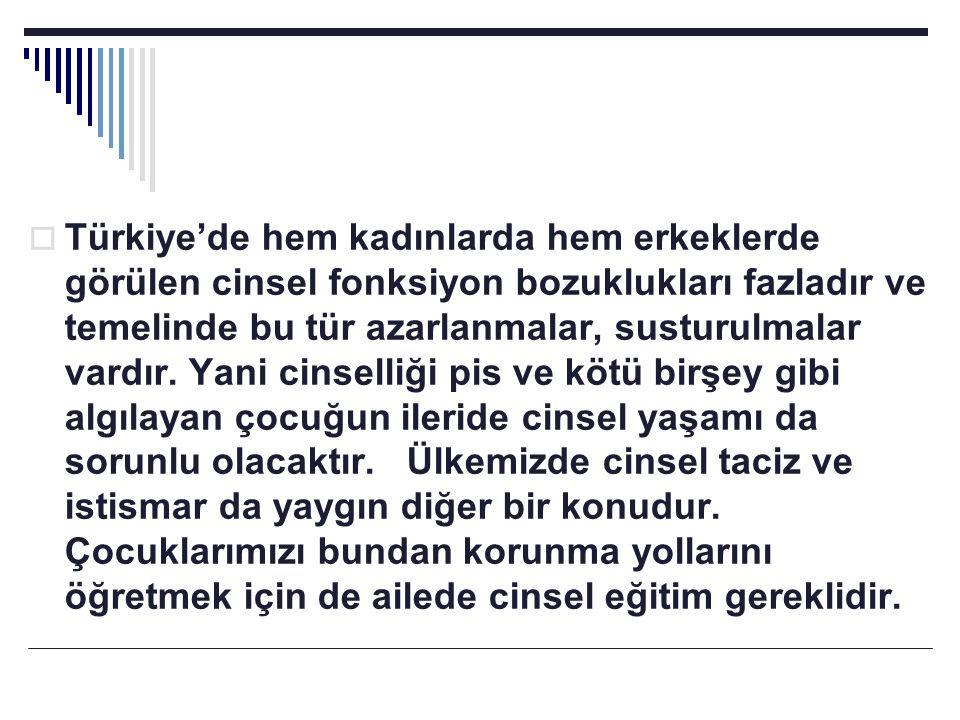  Türkiye'de hem kadınlarda hem erkeklerde görülen cinsel fonksiyon bozuklukları fazladır ve temelinde bu tür azarlanmalar, susturulmalar vardır.