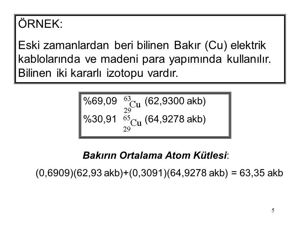 6 Doğal olarak bulunan Li: 7.42% 6 Li (6.015 akb) 92.58% 7 Li (7.016 akb) Lityumun Ortalama Atom Kütlesi: (0,9258)(7,016)+(0,0742)(6,015) = 6,941 akb