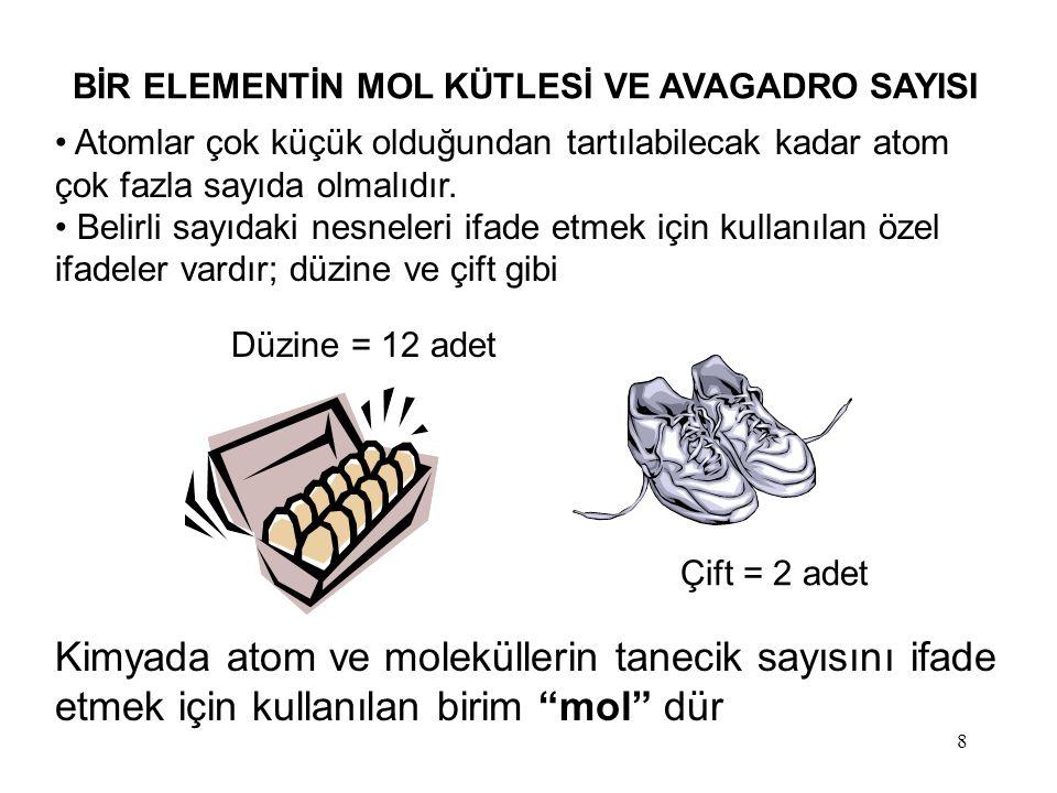 9 MOL: SI sisteminde 12.00 gram 12 C (karbon-12) izotopunun içerdiği atom sayısı kadar elementsel parçacığa (atom, molekül, iyon) 1 mol denir.