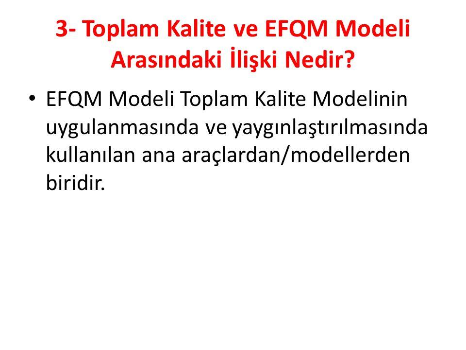 3- Toplam Kalite ve EFQM Modeli Arasındaki İlişki Nedir.