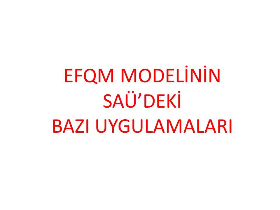 EFQM MODELİNİN SAÜ'DEKİ BAZI UYGULAMALARI