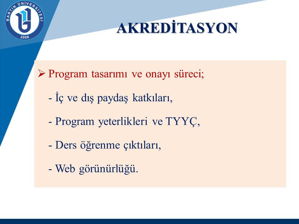 AKREDİTASYON  Program tasarımı ve onayı süreci; - İç ve dış paydaş katkıları, - Program yeterlikleri ve TYYÇ, - Ders öğrenme çıktıları, - Web görünür