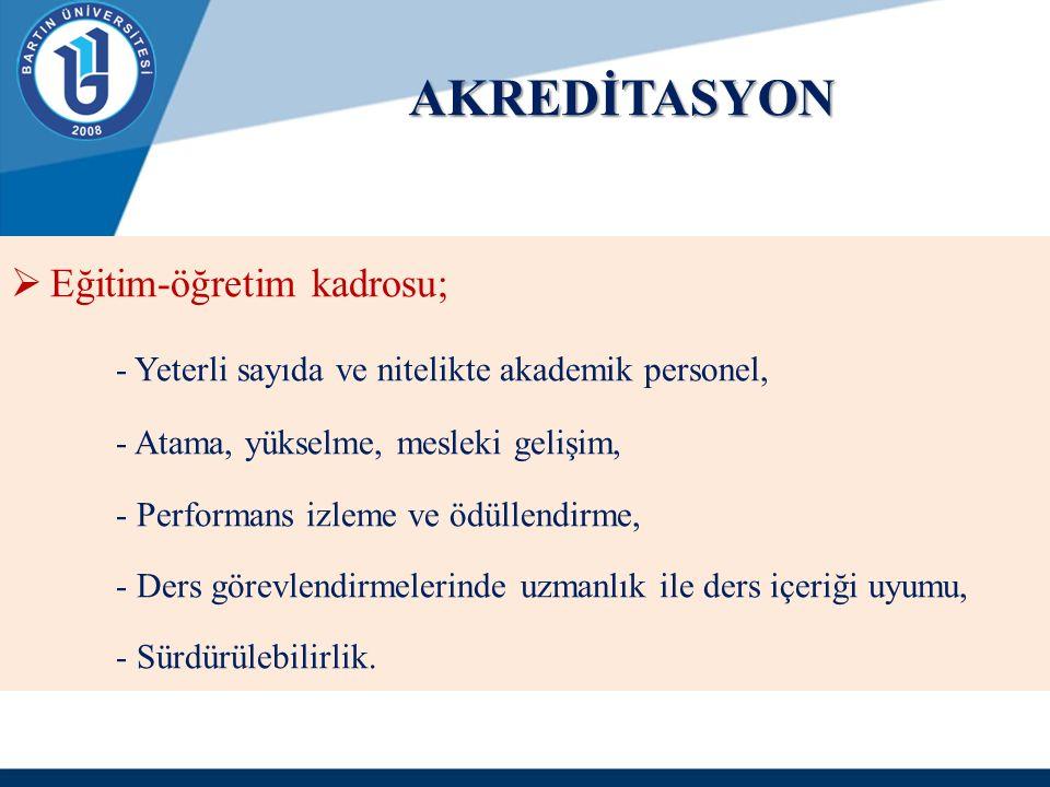 AKREDİTASYON  Eğitim-öğretim kadrosu; - Yeterli sayıda ve nitelikte akademik personel, - Atama, yükselme, mesleki gelişim, - Performans izleme ve ödü