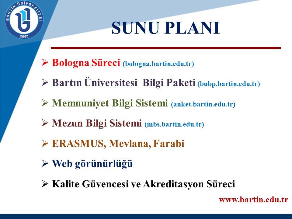 SUNU PLANI  Bologna Süreci (bologna.bartin.edu.tr)  Bartın Üniversitesi Bilgi Paketi (bubp.bartin.edu.tr)  Memnuniyet Bilgi Sistemi (anket.bartin.e