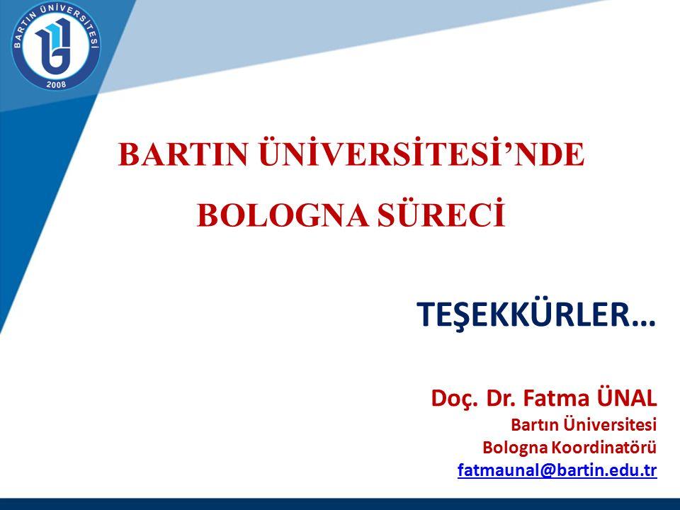 TEŞEKKÜRLER… Doç. Dr. Fatma ÜNAL Bartın Üniversitesi Bologna Koordinatörü fatmaunal@bartin.edu.tr fatmaunal@bartin.edu.tr BARTIN ÜNİVERSİTESİ'NDE BOLO