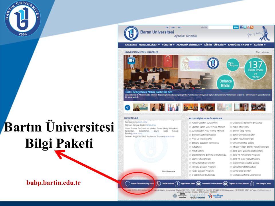 Bartın Üniversitesi Bilgi Paketi bubp.bartin.edu.tr