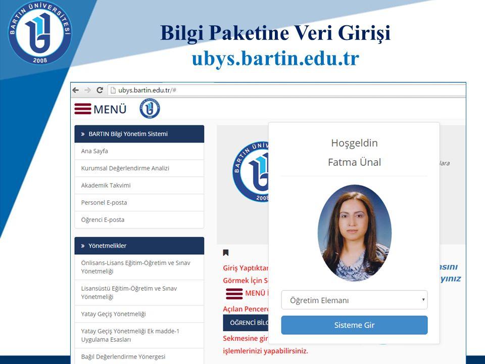 Bilgi Paketine Veri Girişi ubys.bartin.edu.tr