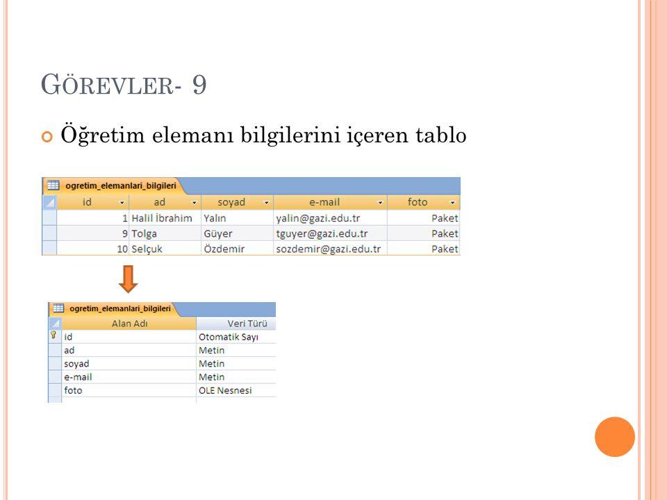 G ÖREVLER - 9 Öğretim elemanı bilgilerini içeren tablo