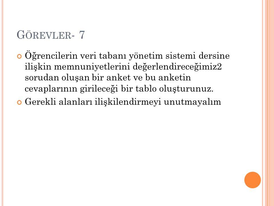 G ÖREVLER - 8 Anketin cevapları 1.