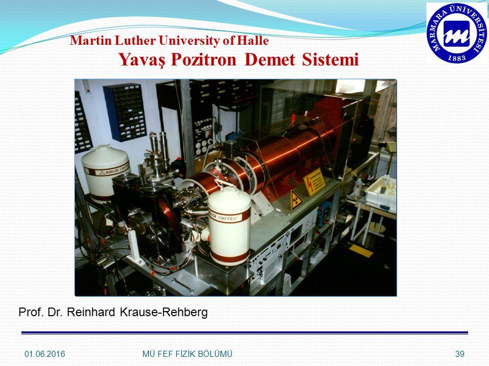 01.06.2016MÜ FEF FİZİK BÖLÜMÜ39 Yavaş Pozitron Demet Sistemi Martin Luther University of Halle Prof.