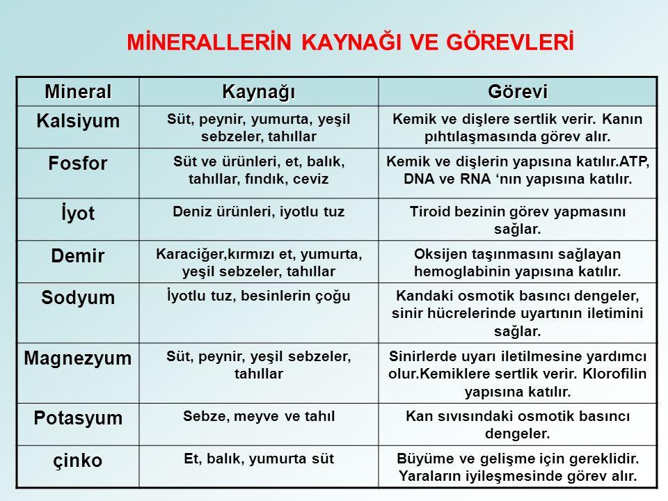 2.MİNERALLER Mineraller canlılar için çok önemlidir.