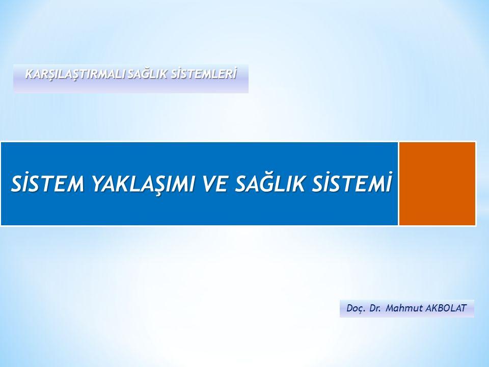 Doç.Dr. Mahmut AKBOLAT Karşılaştırmalı Sağlık Sistemleri * Sistem nedir.