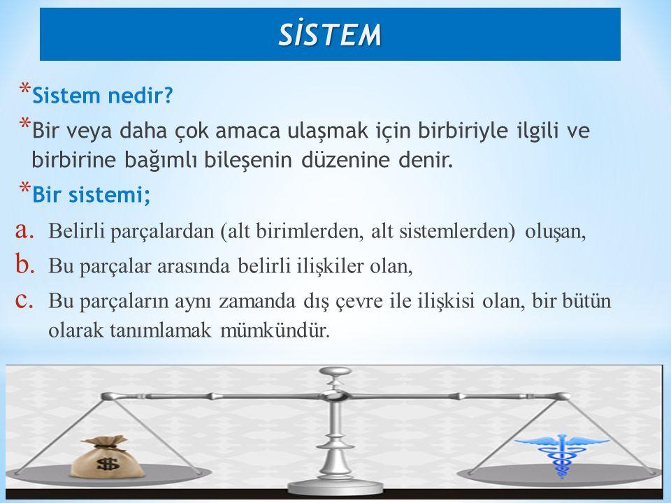 * Sağlığın geliştirilmesini ve korunmasını temel amaç edinen kaynaklar, kurumlar, insanlar ve yönetimlerin oluşturduğu bir bütünlüktür.
