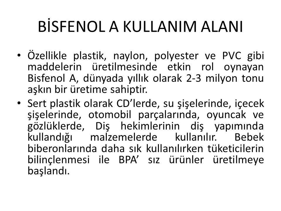 BİSFENOL A KULLANIM ALANI Özellikle plastik, naylon, polyester ve PVC gibi maddelerin üretilmesinde etkin rol oynayan Bisfenol A, dünyada yıllık olarak 2-3 milyon tonu aşkın bir üretime sahiptir.