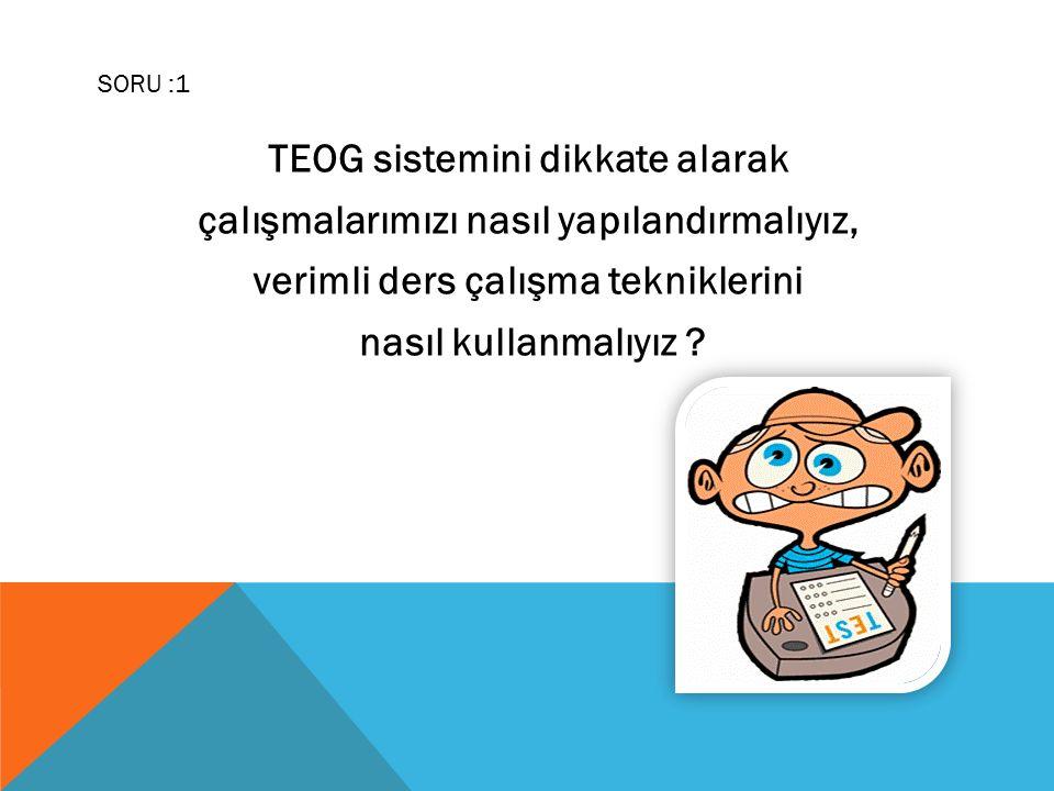 TEOG sistemini dikkate alarak çalışmalarımızı nasıl yapılandırmalıyız, verimli ders çalışma tekniklerini nasıl kullanmalıyız .