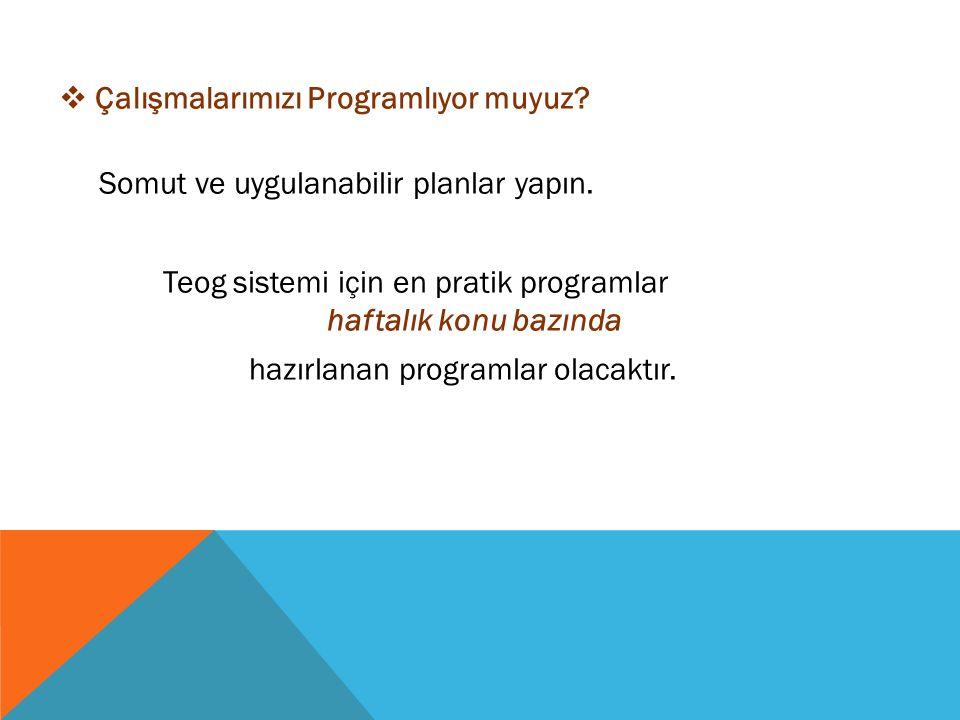  Çalışmalarımızı Programlıyor muyuz. Somut ve uygulanabilir planlar yapın.
