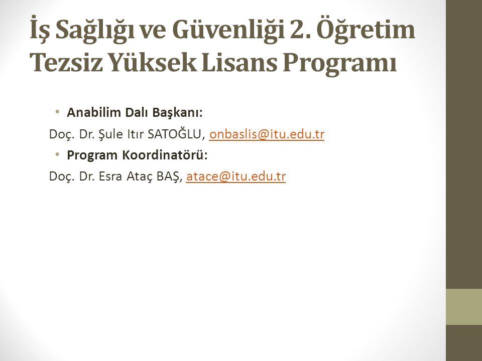 Programın Özgörüsü Programın özgörüsü (vizyonu), İstanbul Teknik Üniversitesi temel stratejileri bağlamında, iş sağlığı ve güvenliği alanında uluslararası düzeyde bilimsel çalışmalar yapabilecek, ulusal gerçeklerin bilincinde, Türkiye ve dünyadaki kuramsal ve teknolojik gelişmelere açık, yaratıcı düşünebilen iş güvenliği yüksek mühendislerini yetiştirmede öncü olmaktır.