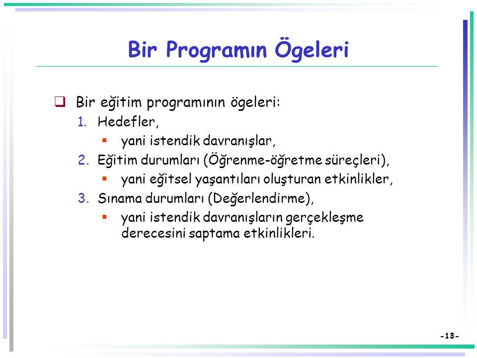 -12- Bir Programın Ögeleri Program Hedefler Eğitim Durumları Sınama Durumları