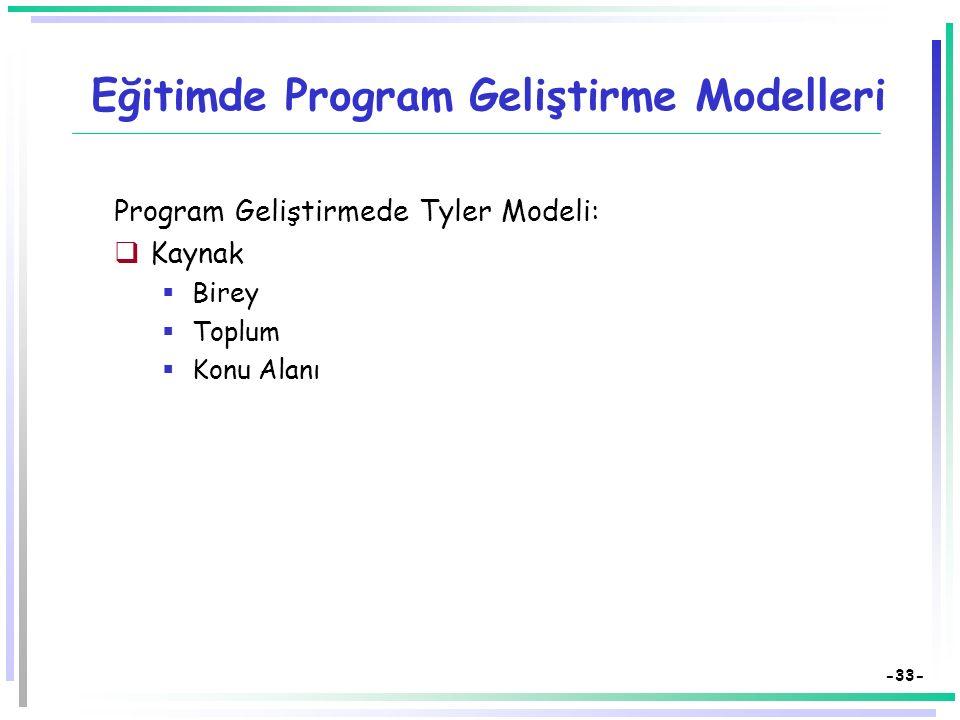 -32- Eğitimde Program Geliştirme Modelleri Program Geliştirmede Taba Modeli:  İhtiyaçların saptanması  Amaçların belirlenmesi  İçeriğin seçimi  İç