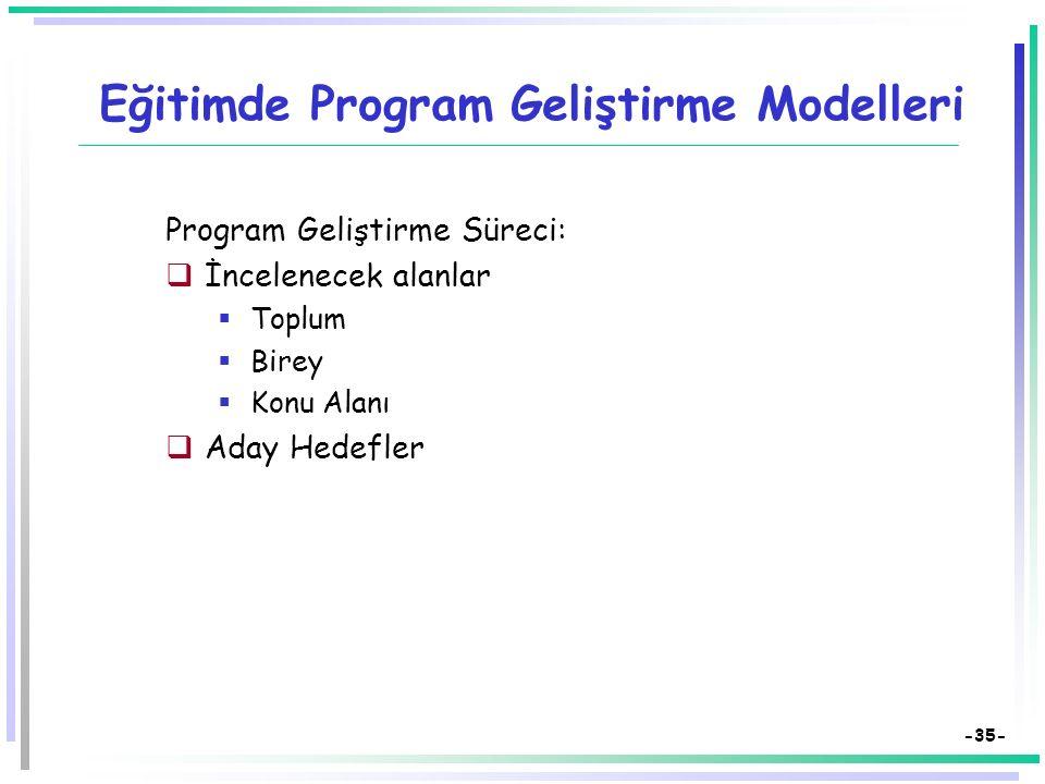 -34- Eğitimde Program Geliştirme Modelleri Program Geliştirmede Tyler Modeli:  Olası genel amaçlar  Süzgeçler  Eğitim felsefesi  Öğrenme psikoloji